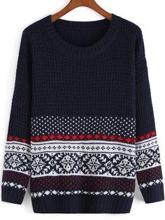 Navy Round Neck Tribal Print Knit Sweater -SheIn(Sheinside) Mobile Site