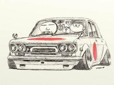 """car illustration""""crazy car art""""jdm japanese old..."""