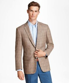 Brooks Brothers Regent Fit Tan with Blue Windowpane Sport Coat