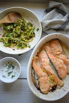 Baked Salmon with Sautéed Brussel Sprouts and Dill http://www.juliascuisine.com/home/baked-salmon-sauteed-brussel-sprouts