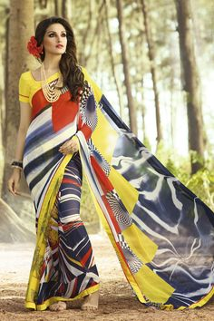 Bring in your best looks this season with fabulous Ethnic attires! This amazing Multicolor Saree is from the best collections of Sarees with Georgette fabric. Floral Print Sarees, Printed Sarees, Fancy Sarees, Party Wear Sarees, Party Wear For Women, Modern Saree, Stylish Sarees, Red Chiffon, Casual Saree