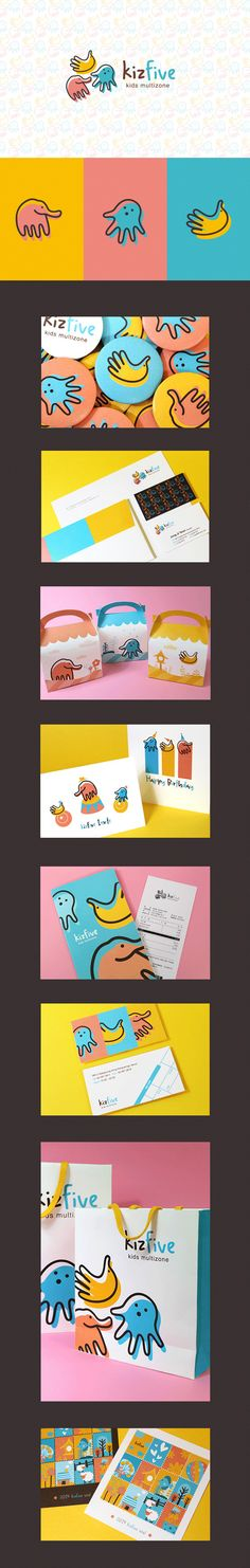 kizfive branding via 지연 정 on Behance. This project is submitted to the University of assignments Kids Cafe branding design Logo Design, Web Design, Design Poster, Brand Identity Design, Graphic Design Branding, Design Art, Kids Graphic Design, Creative Design, Kids Packaging
