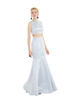 TWO PIECE SWEETHEART in pale blue. Long, two-piece formal dress in ice blue. $249.00 FAME&PARTNERS