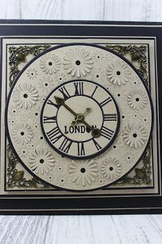 Happy Thusrday, A quick post today with a mix of the Time fLies and the gerbera pop out circle. I wanted this card to show that you can. Dark Flowers, Sue Wilson, Next Door, Gerbera, Birthday Cards, Clock, Stamp, Doors, Creative