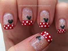 November Nail Art Challenge- Day 6 : Image Hi girls (and guys? My nails have been super boring lately. Fancy Nails, Red Nails, Cute Nails, Pretty Nails, Hair And Nails, Minnie Mouse Nail Art, Mickey Mouse Nails, Mickey Head, Disney Nail Designs
