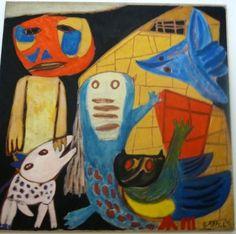 Karel Appel: Mens en dieren, 1949 (Man and animals) at Stedelijk Museum, Amsterdam Tachisme, Amsterdam, Figure Painting, Painting & Drawing, Cobra Art, Art Informel, Ecole Art, Art Brut, Famous Art