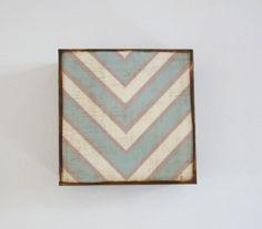 V Pattern 5x5 art block wood Chevron Military by redtilestudio, $29.00