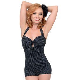 Vintage high Waist Swimsuit Unique Vintage Garbo Black Dot One-Piece Retro Halter Swimsuit