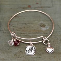 North Carolina State Wolf Pack Memory Wire Bracelet