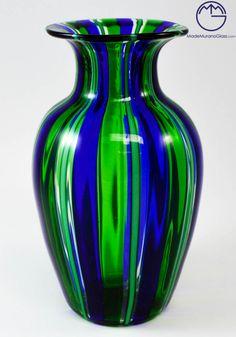 """Fantastic #working of #Murano #glass, used to realize this #modern #vase """"in pipe"""" green and blue.--- Formidabile #lavorazione del #vetro #soffiato di #Murano eseguita per realizzare questo #vaso #moderno in canna blue e verde."""