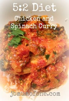 2 diet Diet: Delicious Chicken and Spinach Curry, Just 205 calories! Diet: Delicious Chicken and Spinach Curry, Just 205 calories! 200 Calorie Meals, Low Calorie Recipes, Healthy Recipes, 5 2 Diet Recipes 500 Calories, Lean Recipes, Calorie Diet, Healthy Dinners, Fast Food Diet, Blood Sugar Diet