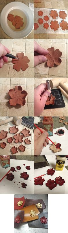Leather Flowers Perfect for DIY couture! Leather Carving, Leather Art, Leather Cuffs, Leather Design, Leather Tooling, Leather Jewelry, Art Du Cuir, Crea Cuir, Leather Tutorial