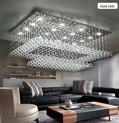 Siljoy Modern Contemporary Crystal Chandelier for Living Room Rectangular Flush Mount Ceiling Lighting Fixture H14xW36xDepth24 16 Cool White LED Lights -- Continue to the product at the image link.