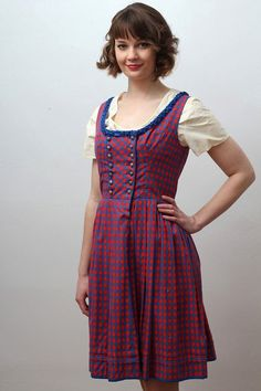 Vintage red and blue checked dirndl with silver buttons via Etsy.
