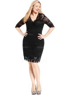 Evening Dresses - $126.47 - Sheath/Column V-neck Knee-Length Satin Lace Evening Dress With Beading (0175059705)