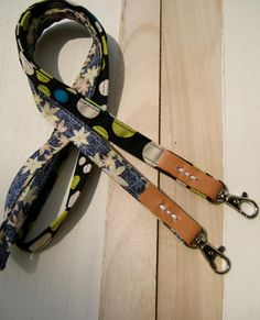Fabric lanyard, ID badge holder, cotton leather, key lanyard holder, dots, floral lanyard, neck strap, school by bagonebagshop on Etsy