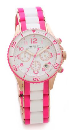 Marc by Marc Jacobs Water Resistant Watch - love the pink and white!