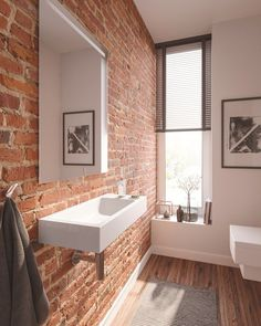 46 Stylish Bathroom Designs Ideas With Exposed Brick Wall Brick Bathroom, White Bathroom, Modern Bathroom, Bathroom Ideas, Bathroom Mirrors, Bathroom Designs, Bathroom Faucets, Small Bathrooms, Bathroom Cabinets