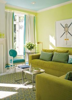 Painted Ceiling and Color Scheme - aqua, lime and teal! White trim and accents keep it clean.Re-Pinned By Donnine~