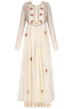Ivory floral thread and sequins work long dress and crushed anarkali set available only at Pernia's Pop Up Shop.