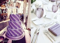 purple wedding cake, purple wedding tablescape