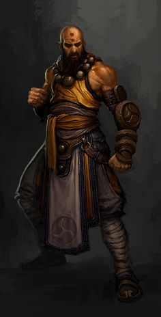Diablo 3 Class War - Monk Another mostly melee warrior-esque class, the Monk uses martial arts and is a Holy Warrior of the Light. Martial Artists, Dungeons And Dragons Characters, Monk Dnd, Character Design, Character Inspiration, Diablo, Fantasy Warrior, Monk, Art