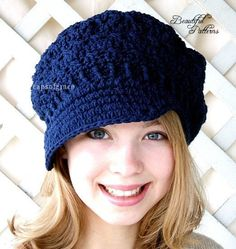 Crochet Hat Pattern Teens Newsgirl Newsboy Slouchy Hat PDF 160 12 Month to Adult Instant Download
