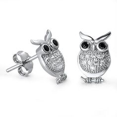 Owl Stud Post Earring Solid Sterling Silver Brilliant Sparking White Sapphire Diamond CZ Black Eye Owl Jewelry Good Luck Fashion Gift