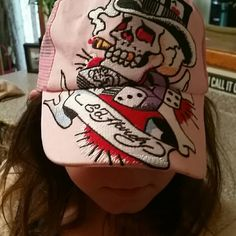 Ed Hardy adjustable girls baseball hat Pink with adjustable strap . Adorable Ed Hardy Accessories Hats