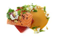 King salmon & torched watermelon
