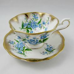 Royal Albert Tea Cup and Saucer with Blue Forget-me-not