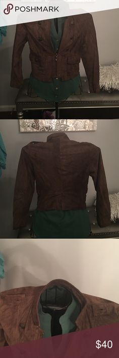 Allan Denis Sz S Brown Suede Jacket Allan Denis Sz S Brown Suede Jacket. No buttons but can be replaced on top where shoulders are. Loose button on front but can be easily fixed. No other damage! Allan Denis Jackets & Coats Blazers