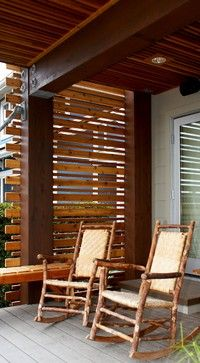 Wood privacy screen. traditional porch
