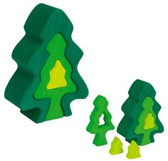 Wooden Fir Tree Puzzle from Glueckskaefer, Germany. At FineWoodenToys.com