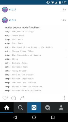 Cool I'm The Marvel Cinematic Universe. I'd rather be Lord of the Rings + The Hobbit though. If ENTP, I'd be Star Trek. Cool.