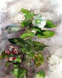 Hollyhocks - John La Farge 1879  Impressionism Watercolour and Gouache on paper