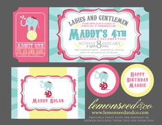 Carnival Birthday Party Invitations Circus Baby by lemonseedandco, $18.00