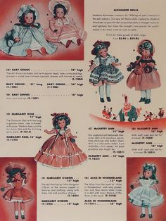 """On this 1948 catalog page, the Alexander Dolls announces their introduction of hard plastic """"The new All Plastic doll created by Madame Alexander surpass the old composition doll in strength, features and lightness. Toy Catalogs, Plastic Doll, Baby Boom, Madame Alexander Dolls, Doll Clothes, Nostalgia, Composition, Old Things, Strength"""