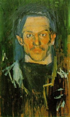 "Pablo Picasso - Self Portrait - ""Yo"", 1901 Pablo Picasso, Art Picasso, Picasso Paintings, Picasso Self Portrait, Picasso Blue Period, Cubist Movement, Cleveland Museum Of Art, Georges Braque, Impressionism"