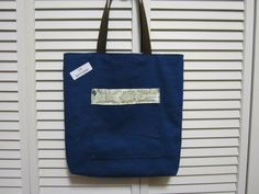 The navy Blue REVERSIBLE TOTE by Virginia Bluebell Couture!! Check it out at www.facebook.com/...