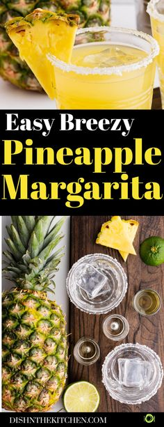 Turn your backyard into a four star resort when you serve these refreshing Pineapple Margarita Cocktails. Serve on the rocks with a salty sugary rim and enjoy! Easy Drink Recipes, Best Cocktail Recipes, Drinks Alcohol Recipes, Light Recipes, Appetizer Recipes, Dinner Recipes, Appetizers, Healthy Recipes, Pineapple Margarita