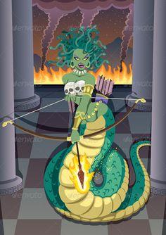 Buy Medusa by Malchev on GraphicRiver. The mythical Gorgon Medusa devastating temple of her mortal enemy – the goddess Athena. No transparency used. Greek Mythical Creatures, Mythological Creatures, Greek Monsters, Medusa Art, Medusa Painting, Ancient Greek Religion, Feminine Symbols, Rome Antique, Greek Mythology Art