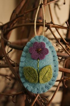 easter egg felt ornament egg tree spring decoration blue with violet purple flower