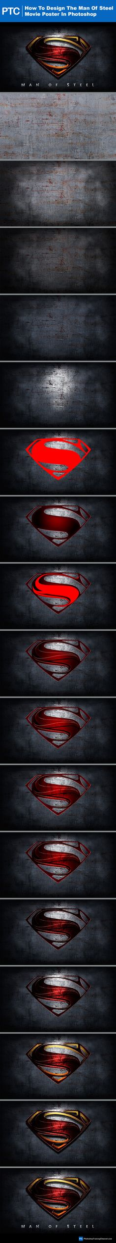 Design The Superman Man Of Steel Movie Poster In Photoshop. #Photoshop #Tutorial #Graphic #Design http://photoshoptrainingchaneel.com