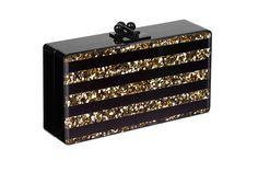 Striped Black Gold Confetti Acrylic Handbag | Edie Parker