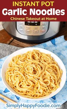 Instant Pot Garlic Noodles are super garlicky. You can have flavorful noodles in under an hour. Pressure cooker Garlic Noodles are Chinese takeout at home! Instant Pot Pasta Recipe, Best Instant Pot Recipe, Instant Pot Dinner Recipes, Pressure Cooker Recipes Pasta, Instant Pot Pressure Cooker, Garlic Noodles Recipe, Homemade Chinese Food, Side Dishes Easy, Food Dishes