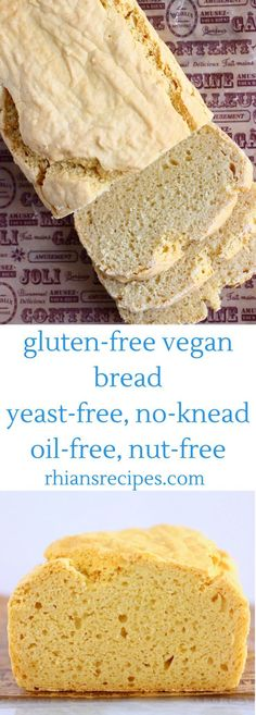 This Gluten-Free Vegan Bread is no-knead yeast-free super easy to make and just like the real thing! Oil-free nut-free refined sugar free only one bowl required and perfect for toast sandwiches and everything in between! Easy Bread Recipes, Whole Food Recipes, Vegan Recipes, Tapioca Flour Recipes, Vegan Bread, Soda Bread Recipe Vegan, Gluten And Yeast Free Bread Recipe, Gluten Free Croissant, Yeast Free Recipes