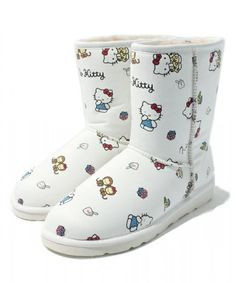 Hello Kitty x Nina mew Leather Mouton Warm Boots Shoes Sanrio from Japan 31056acd0e65
