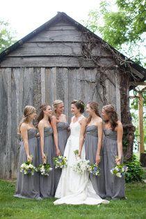 Pretty grey bridesmaids dresses...