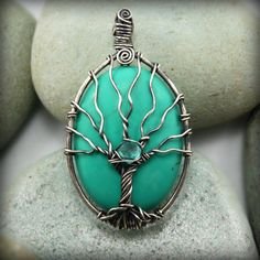 Tree of life pendant. Turquoise, and Apatite gemstones